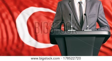 Speaker On Turkey Flag Background. 3D Illustration