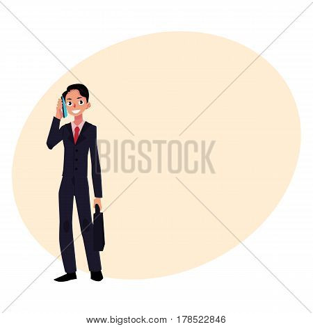 Young businessman standing, talking by mobile, cell phone, holding briefcase, cartoon vector illustration with place for text. Businessman, worker, employee talking by phone