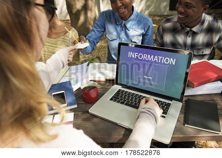 Group of students studying using laptop giving notes