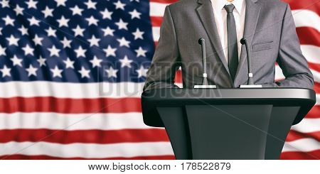 Speaker On United States Of America Flag Background. 3D Illustration