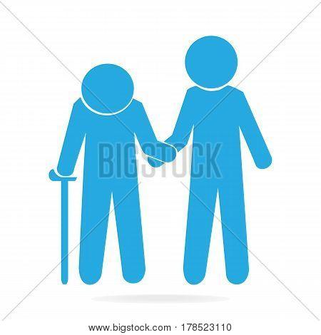 Man helps elderly patient icon flat style illustration