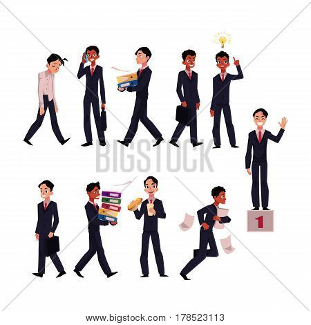 Black and Caucasian businessman in business situations, working day, career concept, cartoon vector illustration isolated on white background. Businessman in business situations, corporate culture