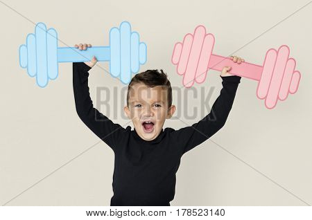 Little Boy Lifting Paper Crafted Dumb Bells