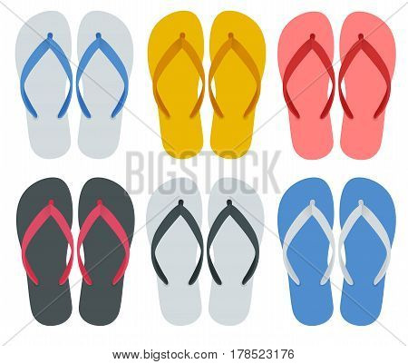 Slippers set of female with Multicolored slippers isolated on white background. Slippers for infographics and design