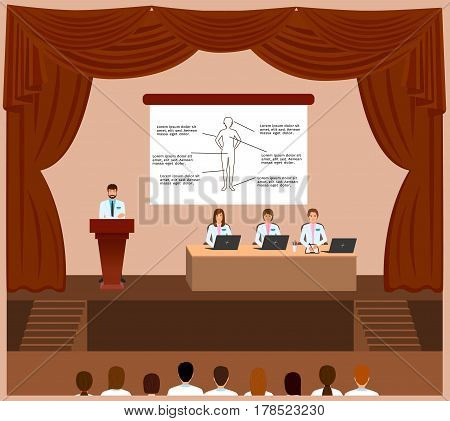 Medical conference session in a assembly hall interior. Spokesperson standing behind the podium and doctors and nurses listening him. Medicine staff. Vector illustration.