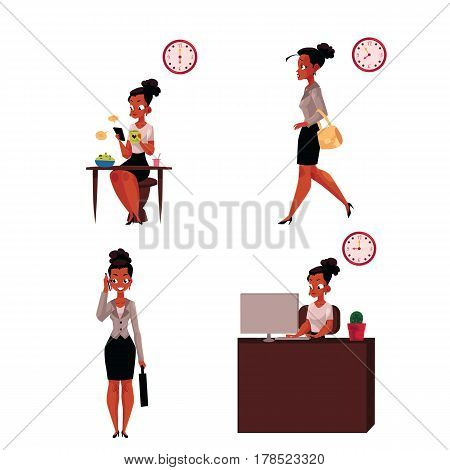Work day of black, African American businesswoman - breakfast, hurrying, talking by phone, in office, cartoon vector illustration isolated on white background. Work day of black, African businesswoman