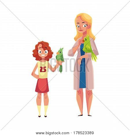 Woman, female veterinarian doctor, vet in white medical coat and little girl holding parrots, cartoon vector illustration isolated on white background. Veterinarian doctor, vet and girl, pet owner