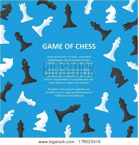 Chess pieces placard with space for text. Poster offering to play chess. Back background with scattered chess pieces in a flat style.