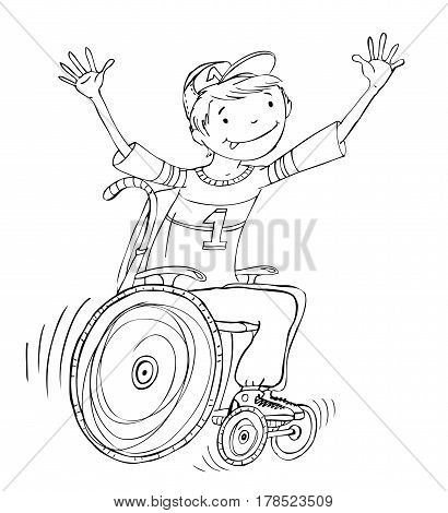 Boy in the wheel chair during the sport activities. Illustration