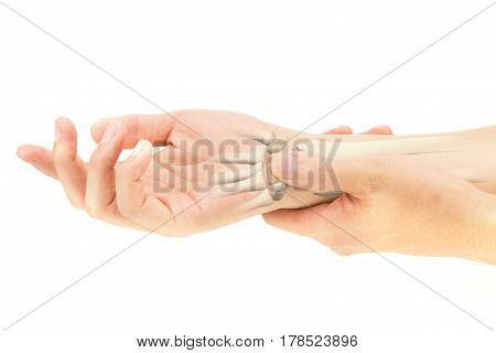 wrist bones injury white background wrist painry