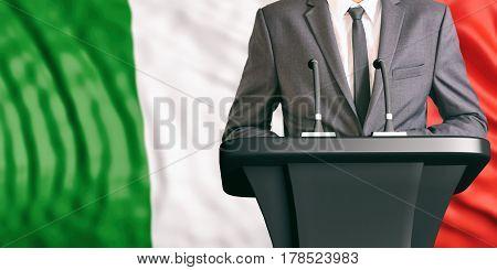 Speaker On Italy Flag Background. 3D Illustration