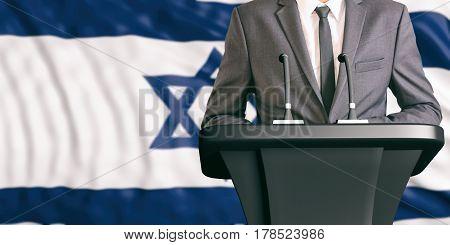 Speaker On Israel Flag Background. 3D Illustration