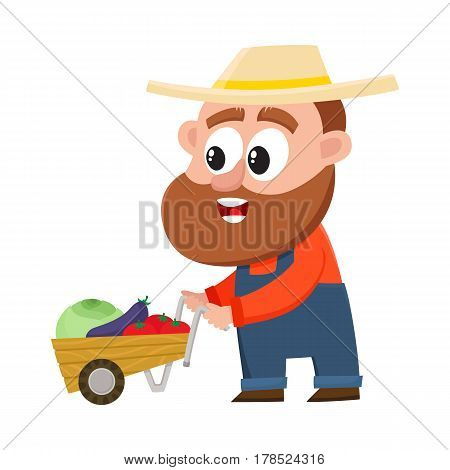 Funny farmer, gardener character in straw hat and overalls pushing barrow, handcart with vegetables, cartoon vector illustration isolated on white background. Comic farmer character, design elements