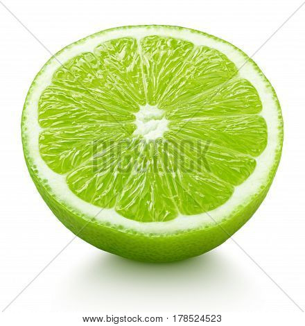 Half Of Green Lime Citrus Fruit Isolated On White