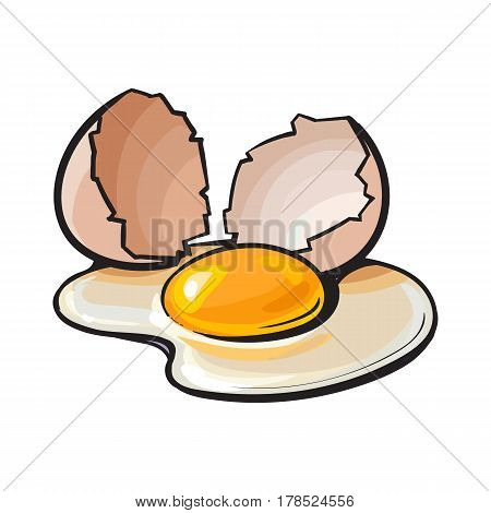 Cracked, broken and spilled chicken egg, sketch style vector illustration isolated on white background. Hand drawn, sketched raw, uncooked chicken egg and halves of eggshell