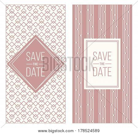 Two retro wedding invitation templates - abstract geometric patterned background and geometric frame. Monoline style. Vector illustration. Retro colors. Perfect for vintage wedding design.