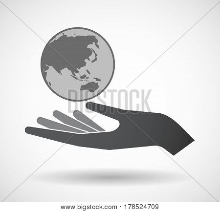 Isolated Hand With  An Asia Pacific World Globe Map