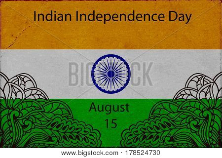 Template Design advertising poster or flyer for the day of Indias independence. Flag of India with elements mahendi. Vector illustration