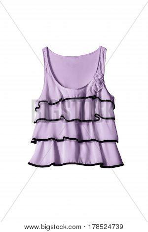 Elegant violet chiffon sleeveless top isolated over white