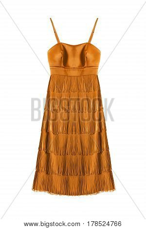 Satin yellow cocktail dress with fringe isolated over white