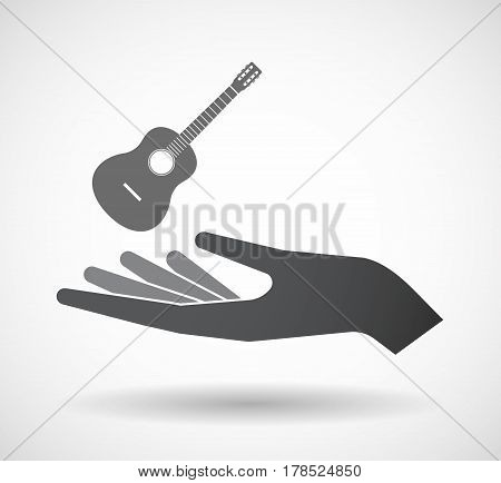 Isolated Hand With  A Six String Acoustic Guitar