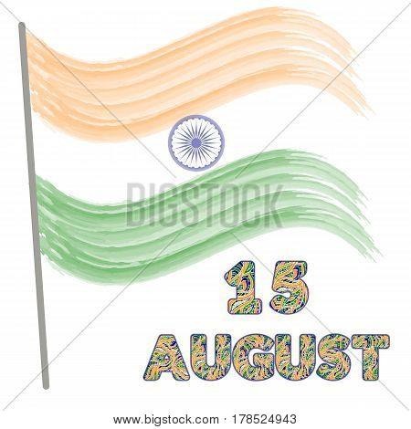 Independence Day of India. Concept with watercolor flag and patterned inscription August 15th. Vector illustration