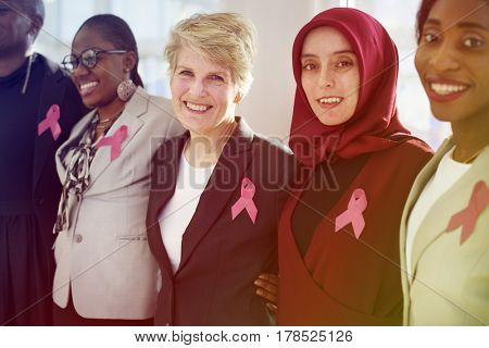 Association group of women with breast cancer ribbon sign
