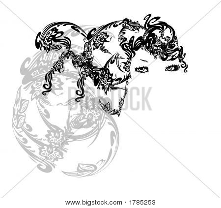 Abstract Girl Background Illustration