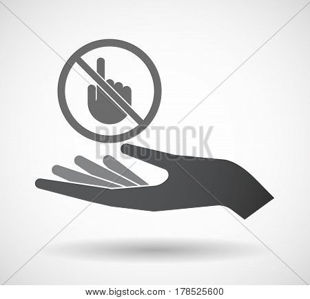 Isolated Hand With  A Touching Hand  In A Not Allowed Signal