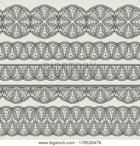 Set of seamless lace black ribbons isolated on white background. Imitation horizontal weave crochet. Vector illustration