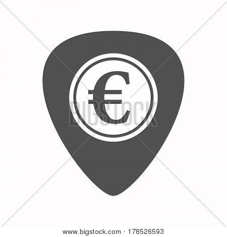 Isolated Guitar Plectrum With  An Euro Coin