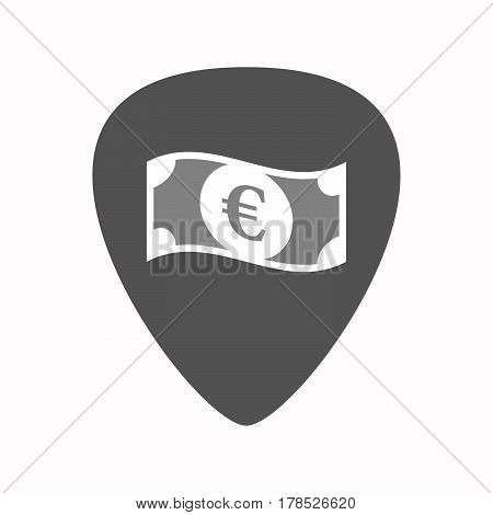 Isolated Guitar Plectrum With  An Euro Bank Note