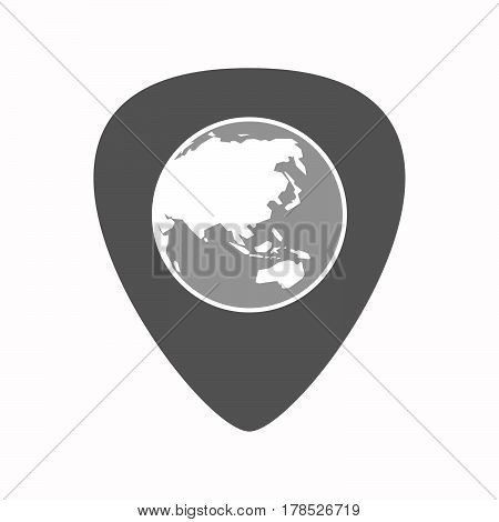 Isolated Guitar Plectrum With  An Asia Pacific World Globe Map