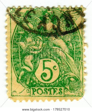 GOMEL, BELARUS, 23 MARCH 2017, Stamp printed in France shows image of the Angels, circa 1900.