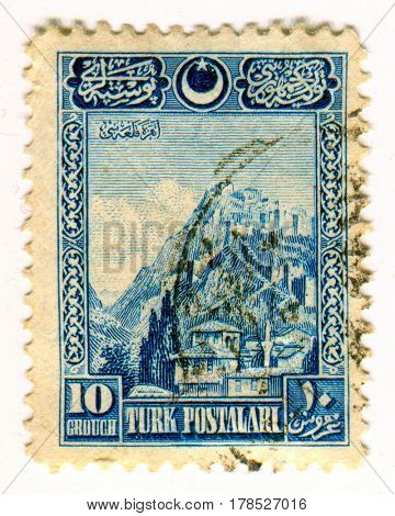 GOMEL, BELARUS, 24 MARCH 2017, Stamp printed in Turkey shows image of the Turkish architecture, circa 1926.
