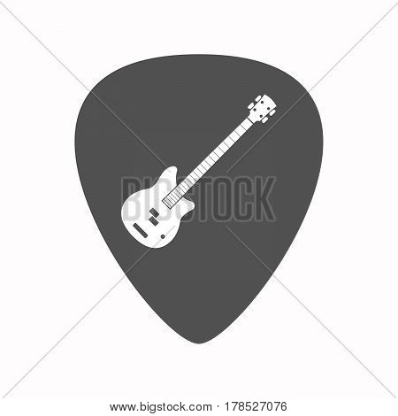 Isolated Guitar Plectrum With  A Four String Electric Bass Guitar