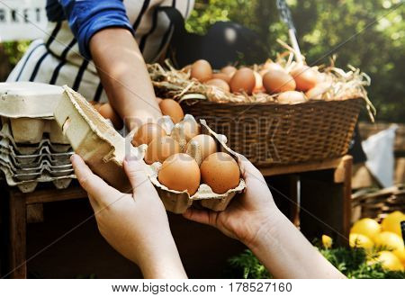 Woman Selling Fresh Chicken Eggs at Local Farmer Market