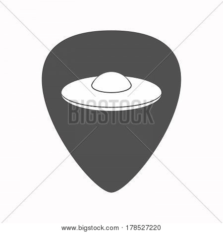 Isolated Guitar Plectrum With  A Flying Saucer Ufo