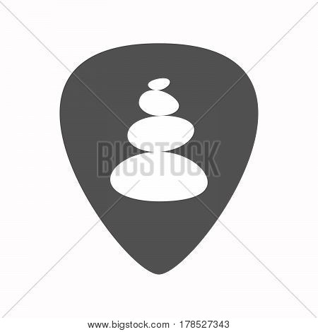 Isolated Guitar Plectrum With  A Stacked Zen Stones