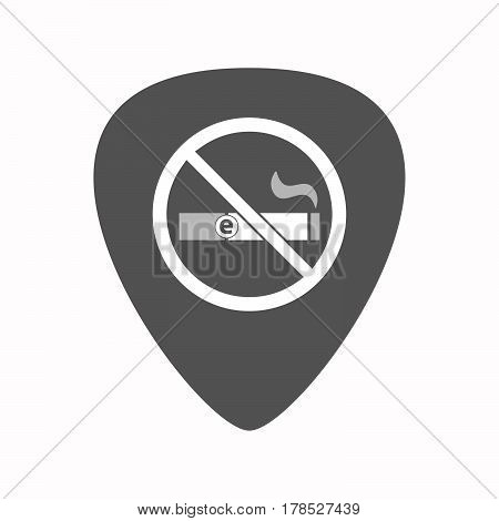 Isolated Guitar Plectrum With  An E-cigarette  In A Not Allowed Signal