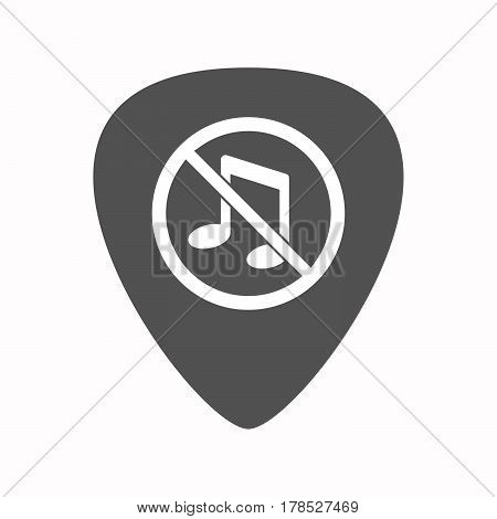 Isolated Guitar Plectrum With  A Musical Note  In A Not Allowed Signal