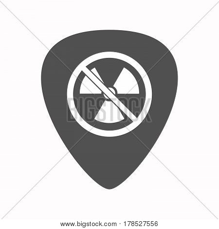 Isolated Guitar Plectrum With  A Radioactivity Sign  In A Not Allowed Signal