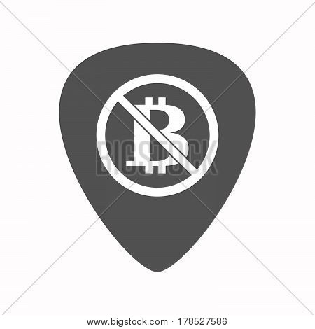 Isolated Guitar Plectrum With  A Bitcoin Sign  In A Not Allowed Signal