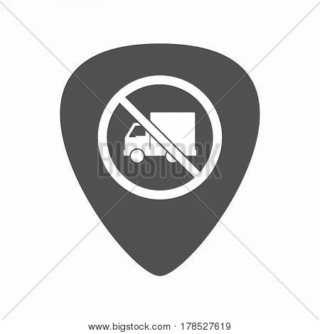 Isolated Guitar Plectrum With  A Delivery Truck  In A Not Allowed Signal