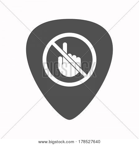 Isolated Guitar Plectrum With  A Touching Hand  In A Not Allowed Signal