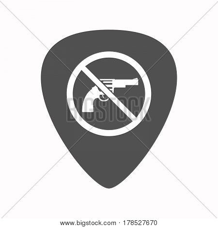 Isolated Guitar Plectrum With  A Gun  In A Not Allowed Signal