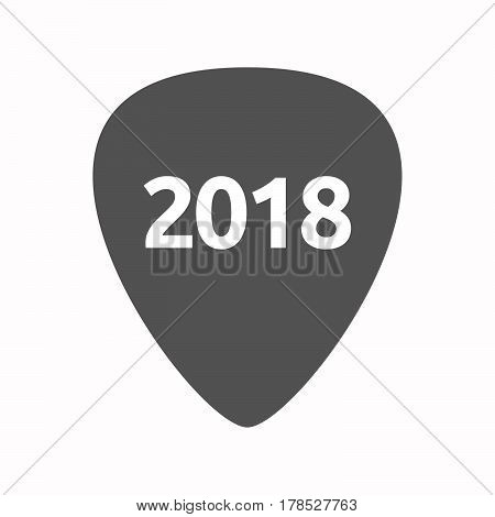 Isolated Guitar Plectrum With  The Number 2018