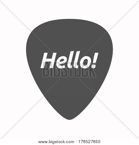 Isolated Guitar Plectrum With  The Text Hello!