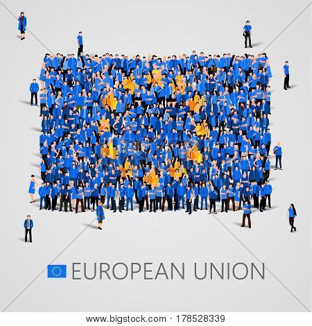 Large group of people in the shape of European union flag. Europe. Vector illustration