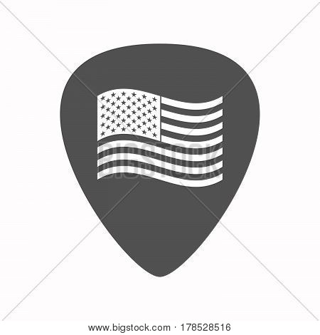 Isolated Guitar Plectrum With  The Unites States Of America Waving Flag